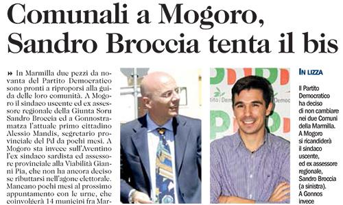 Comunali a Mogoro, Sandro Broccia tenta il bis.
